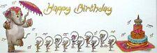 Art Greeting Card Flap Happy Birthday Elephant Mouse India Dance Cake Animals