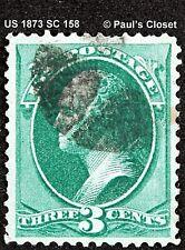 US 1873 Sc 158 3 ¢ Washington Vert Ung Liège Cnx N° Gril Fin / Très Fine