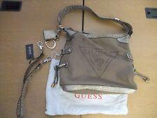 "Ladies Handbag Guess, fawn canvas& metallic faux leather 12x10x5""+ handle 3134"