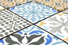 Mosaïque rétro carreau céramique crème bleu orange gris mat 22B-1406_b |1 plaque