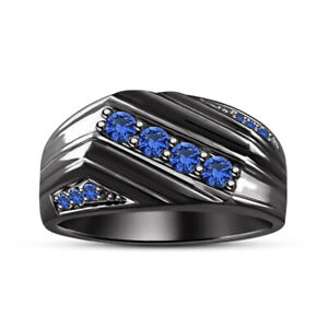 1.00 CTW. Round Blue Sapphire Pinky Men's Ring 10K Black Gold Over