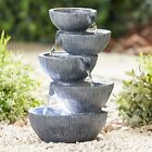 Serenity Garden 5 Tier Cascading Bowl Water Feature Led Outdoor Fountain 35cm