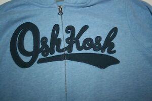 USED OshKosh Boys 10 12  year Hoodie Sweatshirt Blue w Logo Zipper Front
