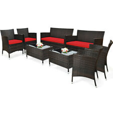 8PCS Rattan Patio Furniture Set Wicker Cushioned Sofa Chair Couch Coffee Table