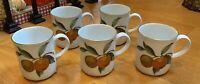 "Royal Worcester EVESHAM GOLD  3 3/4"" Ear-handled Mugs Set of 5"