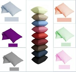 Pillow Cases Pair Single Plain Dyed 68 Pick 100% Polycotton UK Housewife Covers