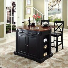 Crosley Coventry Drop Leaf Breakfast Bar Island W Stools Black Kitchen Cart