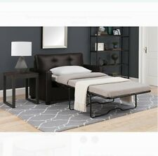 Loveseat Sleeper Sofa Memory Foam Mattress Couch Furniture Modern Twin Bed Brown