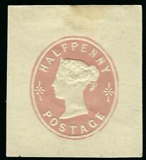 OLD GREAT BRITAIN QUEEN VICTORIA HALF PENNY STATIONARY STAMP CUT SQUARE MLH