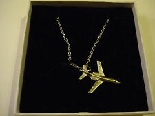 "Dassault Falcon 2000 c95 Aeroplane On a 18"" Silver Plated Curb Chain Necklace"