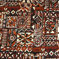 Traditional Hawaiian Tapa Style Print, Browns. Black & Ivory, Cotton BTHY or BTY