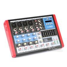6 Channels Audio Mixer Console Mixing DJ Sound Desk 48v Phantom USB EQ Equalizer