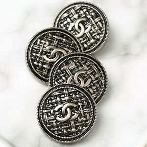 Chanel Buttons 5pc CC Silver Quilted 25mm 5 Buttons unstamped AUTH!!!