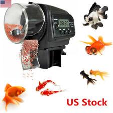 US Fish Food Feeder Digital LCD Timer Automatic Feeding Tank Pellet for Aquarium