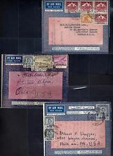 Iraq 1940s 48 Three Aerogrames Franked Boy King Issues Airmails & Pictorials Dif