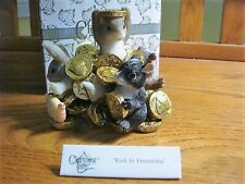 """Fitz & Floyd Charming Tails """"Rich In Friendship"""" Animal Friends & Gold Coins-New"""