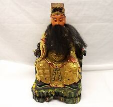 Antique Chinese Polychrome Wood Gilt Confucius Guanyin Kwan Yin Longevity God