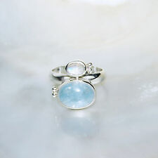 Aquamarin Ring, 925er Silber, Edelsteinring (21350), mit Mondstein