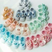 3Pairs/Pack Newborn Baby Girl Lace Frilly Bow Ankle Anti Slip Socks 0-3T Toddler