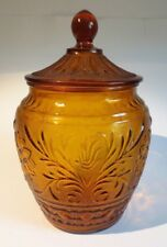 Vintage Amber Sandwich Glass Cookie Jar