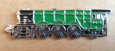 TRAIN  - LAPEL PIN BADGE  - GREEN LOCOMOTIVE FLYING SCOTSMAN STYLE TRAINS (BB2)