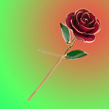 US Love forever Long Stem Dipped 24k Gold Foil Trim Rose Exquisite packaging red