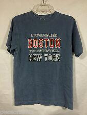 BOSTON T Shirt Red Sox Beats New York Baseball Graphic Tee Blue Cotton S EUC