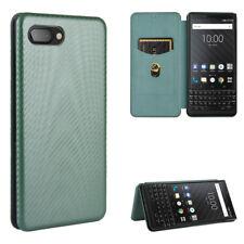 For BlackBerry Flip Carbon Fiber Stand Leather Wallet Magnetic Case Cover