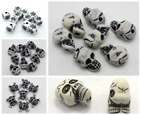 White with Black Halloween Gothic Skull Acrylic Beads Various Shape Craft DIY