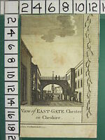 C1800 Antique Imprimé~ Vue De East-Gate Chester ~ Cheshire