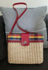 Brighton Straw Shoulder Crossbody Purse Summer Handbag Red Leather Plaid Medium
