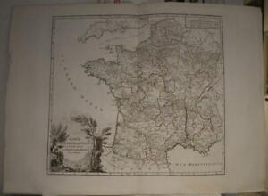 FRANCE FRENCH KINGDOM 1757 ROBERT DE VAUGONDY ANTIQUE COPPER ENGRAVED ROAD MAP