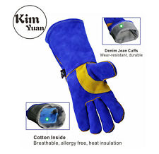 KIM YUAN Cowhide Welding Gloves-Heat/Fire Resistant Oven/Fireplace/BBQ-14inch