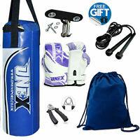 Boxing Bag 40cm 2-3Ft Filled Heavy MMA Kids/Junior Punch Bag Gloves Bracket Set
