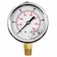 "Pool Spa Filter Water Pressure Gauge 0-100 PSI Side Mount 1/4"" Inch Pipe Thread"