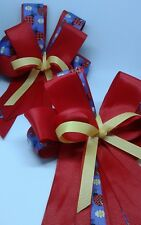 Equestrian Horse Show Hair Bows W/ French Clip Red,Yellow and lady bprint Ribbon