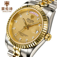 HOLUNS Luminous Waterproof Quartz Wristwatch Luxury Men Stainless Steel Strap
