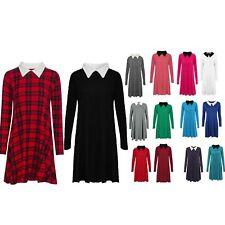 Womens Long Sleeve Peter Pan Collar Ladies Plain Stretchy Jersey Swing Dress Top