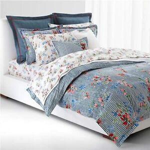 Ralph Lauren King Size Floral Stripe Duvet Cover Set Maggie Cotton Indigo/Multi
