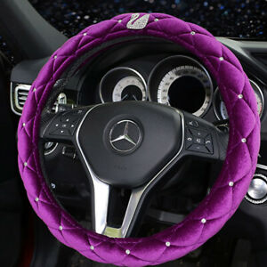 Car Steering Wheel Cover 38cm Luxury Purple Plush Rhinestone+Swan Bling Diamond