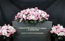 Double Cemetery Flower Memorial Headstone/Tombstone Saddle+Matching Vase Bushes