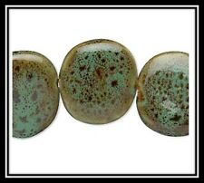 Porcelain beads, Green.Brown, Pink Roses, Asian Happy Faces