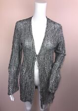 Style CO Small Sweater Cardigan NEW Black Ivory Open Tie Front Marled NEW