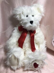 "Boyds Bears B Everluvin White Bear Red Bow Heart On Foot Valentine 16"" 82019"