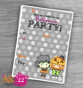 Cute Kids Invitations pack 'Halloween party' Birthday Party x10
