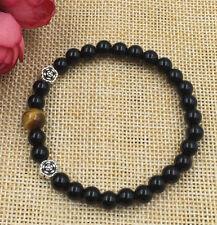 Fashion 6 mm black agate Tiger's eye Tibetan silver flowers stretch men bracelet