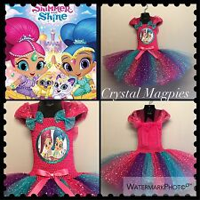 Shimmer And Shine Tutu Birthday Party Dress With Sequin Sparkle Skirt.