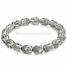 8.5 Inches Fashion Silver Tone Buddha Head Link Men Women Lucky Chain Bracelet