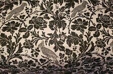 PRINTED LINEN BLACK AND WHITE DAMASK GRAY PARROT REMNANT HOME DECOR FABRIC
