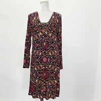 J. Jill Size Small Dress Paisley Floral Stretch Long Sleeves Square Neck Rayon